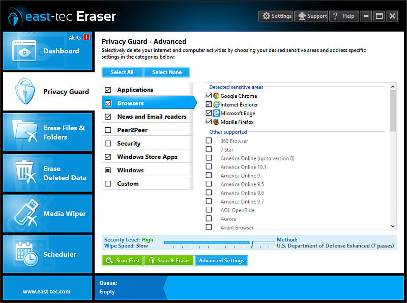 Click to view east-tec Eraser 12.9.5 screenshot